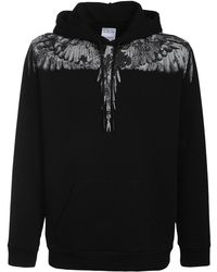 Marcelo Burlon Camo Wings Print Cotton Jersey Hoodie - Black