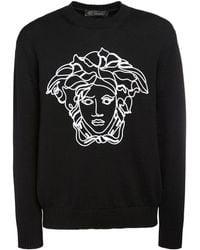 Versace Pullover aus Wolle mit Logo - Schwarz