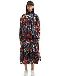 KENZO - Wild Flowers Print Tiered Taffetas Dress - Lyst