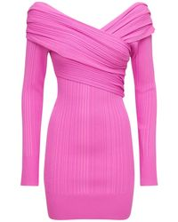 Hervé Léger Off-the-shoulder Knit Rib Mini Dress - Pink