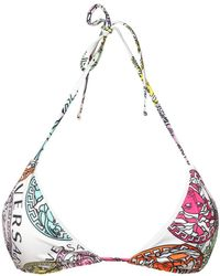 Versace Medusa Print Triangle Bikini Top - Multicolor