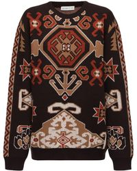 Etro Carpet ジャカードウールブレンドニットセーター - ブラウン
