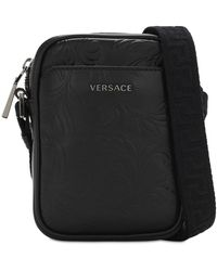 Versace Kameratasche Aus Leder Mit Logo - Schwarz