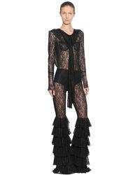 Faith Connexion Low Back Stretch Lace Hooded Jumpsuit - Black