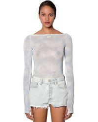 Off-White c/o Virgil Abloh Bleached Sheer Jersey L/s Top - Blue
