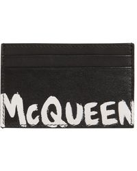 Alexander McQueen Kartenetui mit McQueen-Logo als Graffiti - Schwarz