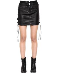 Unravel Lace-up Leather Mini Skirt - Black