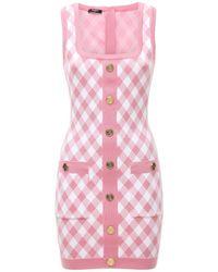 Balmain Jacquard-kleid Mit Knöpfen - Pink