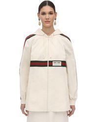 Gucci Giacca In Tela Di Cotone Con Zip E Webbing - Bianco