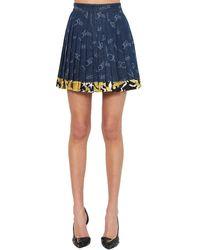 Versace Hemd Aus Baumwolldenim Mit 80er-logodruck - Blau