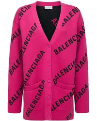 Balenciaga コットンブレンドニットカーディガン - ピンク