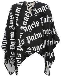 Palm Angels Пончо Из Трикотажа С Логотипом - Черный