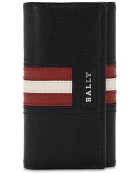 Bally Logo Stripe Leather Wallet W/ Key Hooks - Schwarz