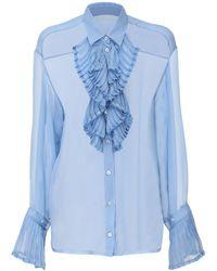 Maison Margiela シアーシルクシャツ - ブルー