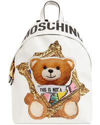 Moschino Rucksack mit Teddy - Weiß