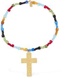 RIXO London Arya Short Beaded Necklace W/ Crucifix - Metallic