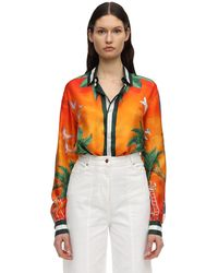 CASABLANCA Printed Tennis Club Sunset Silk Shirt - Оранжевый