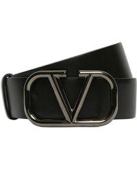 Valentino Garavani 30mm Leather Belt W/ V-logo Buckle - Черный