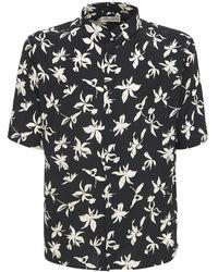 Saint Laurent Рубашка Из Шелка С Принтом - Черный