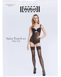 Wolford Touch 20 Den Stay-up Satin Thigh Highs - Weiß