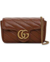 Gucci Super Mini Gg Marmont Leather Bag - Brown