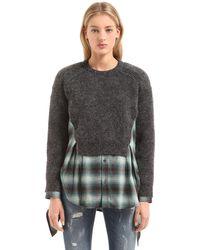 DSquared² セーター&チェックシャツ レイヤーワンピース - グレー
