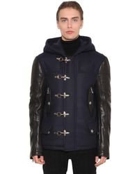 Balmain Virgin Wool Blend & Leather Biker Coat - Blue