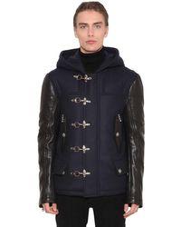 Balmain Пальто Из Кожи И Кашемира - Синий