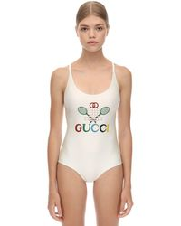Gucci Shiny Printed One Piece Lycra Swimsuit - White