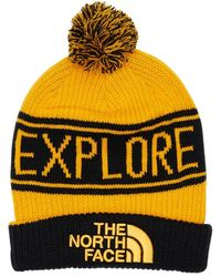 The North Face Retro Tnf Pom Acrylic Blend Beanie - Yellow