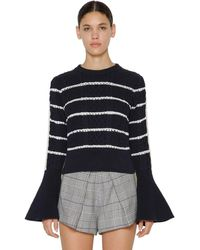 Self-Portrait Ruffled Cotton Knitted Sweater - Blue