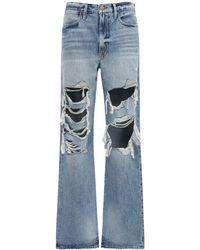FRAME Le Hollywood Destroyed Baggy Jeans - Blue