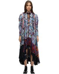 COACH ビスコースシフォンパッチワークドレス - ブルー