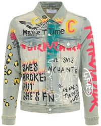 """Lifted Anchors """"detention"""" Printed Denim Jacket - Blue"""