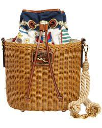 Etro Printed Straw & Cotton Basket Bag - Multicolor
