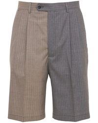 LC23 Bicolor Pinstripe Wool Shorts - Grey