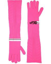 Prada Lange Handschuhe Aus Technostrick Mit Logointarsie - Pink