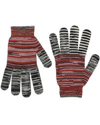 Missoni Multicolor Wool & Lurex Gloves - Red