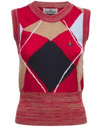 Vivienne Westwood Top Aus Wolle Mit Logostickerei - Rot