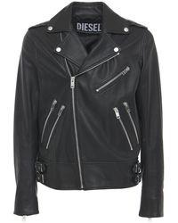 DIESEL レザーバイカージャケット - ブラック