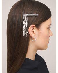 Miu Miu Haarspange Mit Kristallen Für Die Linke Seite - Mettallic