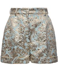 Dolce & Gabbana High Waist Jacquard Lamé Shorts Light Blue/gold