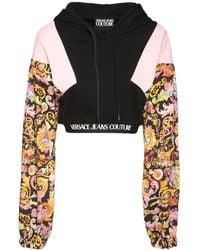 Versace Jeans Couture コットンジャージークロップドフーディー - ブラック