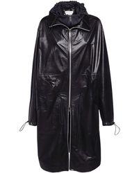 Bottega Veneta Leather Parka Coat - Black