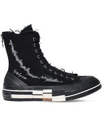 Yohji Yamamoto Xvessel Slash Canvas High-top Sneakers - Black