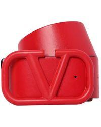 Valentino Garavani Go Logo レザーベルト 70mm - レッド