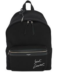 Saint Laurent Рюкзак Из Хлопкового Канвас С Вышивкой Логотипа - Черный