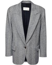 Alexandre Vauthier Oversized Wool Herringbone Blazer - Black