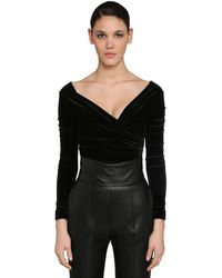 Alexandre Vauthier Off Shoulder Stretch Velvet Bodysuit - Black