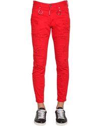DSquared² Jean Coupe Skinny Dan En Denim De Coton 15Cm - Rouge